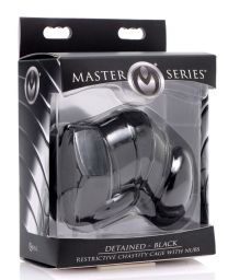 Master Series Detained Black Restrictive Male Chastity Cage